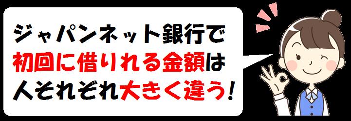 ジャパンネット銀行の初回限度額はについて