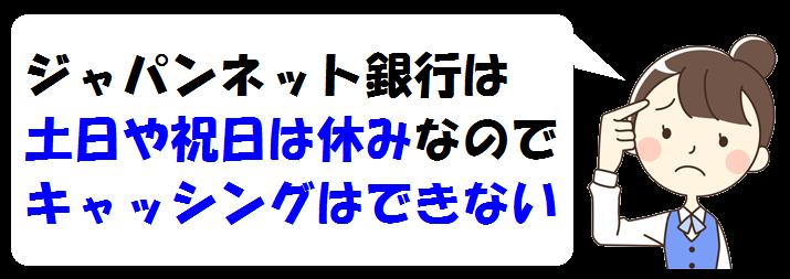 ジャパンネット銀行で土日はキャッシングできる?