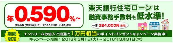 楽天銀行の住宅ローン新規