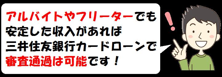 三井住友銀行カードローンでアルバイトやフリーター